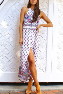 Random Floral Print Sleeveless Splited Maxi Dress