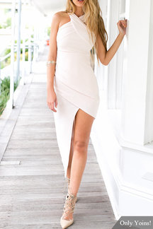 Sleeveless Wrap Front Midi Dress with Irregular Hem