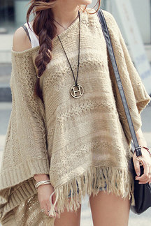 Hollow Out Cape Jumper with Tassel Hem