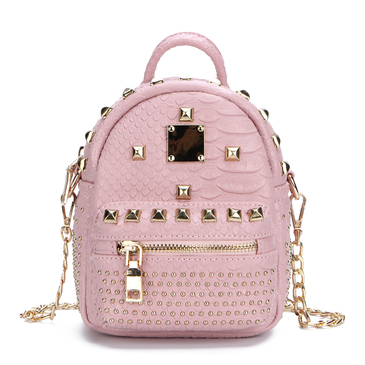 Pink Rivet Design Mini Backpack