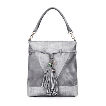 Grey Leather-look Embroidered Tassel Shoulder Bag with Drawstring