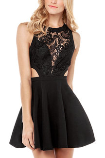 Black Skater Dress with Crochet Lace Detail