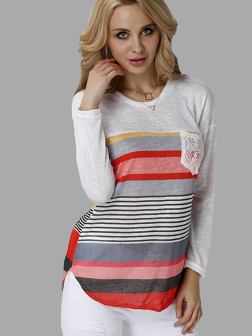 Casual Random Color Block Stripe Long Sleeves T-shirt