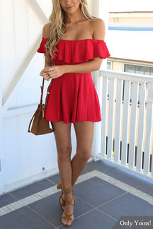 Red Off Shoulder Design Ruffle Details Playsuit