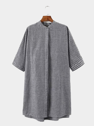Oversized Short Sleeve Stripe Shirt