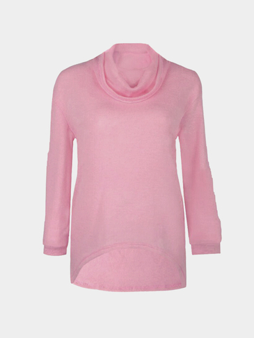 Pink Casual Knitted High Neck Curved Hem Sweater