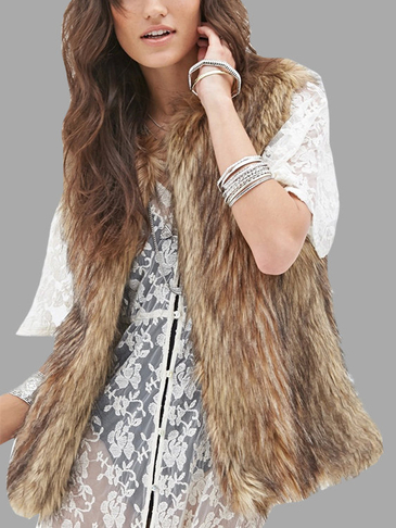 Khaki Faux Fur Sleeveless Coat