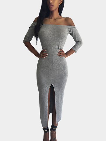 Grey Off-the-shoulder Dress With Split