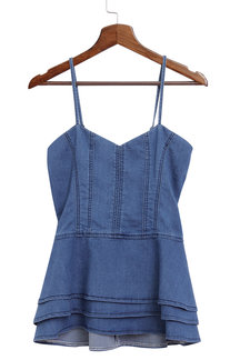 Sexy Layered Design Adjustable Shoulder Length Shoulder Denim Cami