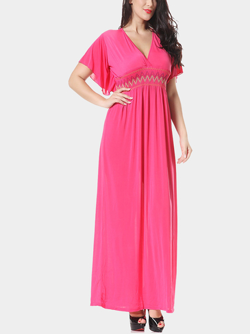 Plus Size V-neck Maxi Dress in Pink