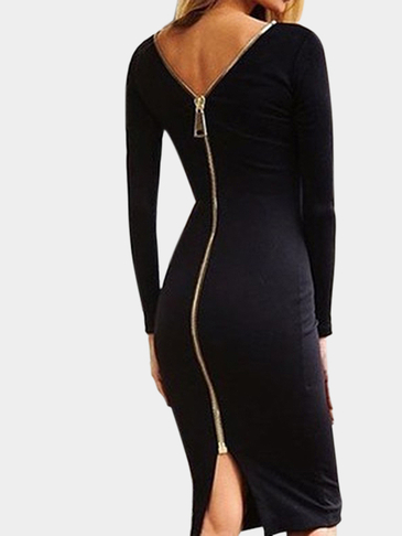 Black Long Sleeves Split Back Zip Body-con Midi Dress
