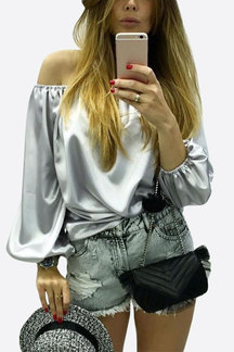 Sliver Sexy Pullover Off Shoulder Blouse