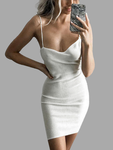 White Sexy Sleeveless Mini Knitted Dress