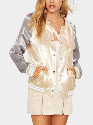 Gold Fashion Satin Button Closure Bomber Jacket