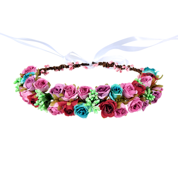 Pastoral Wreath Tying Headband in color roise