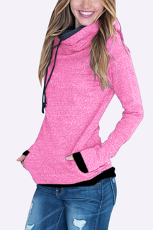 Zip & Pocket Design Hooded Hoodie in Pink