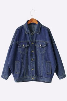 Blue Bat Sleeves Classic Collar Fahion Loose Denim Jacket