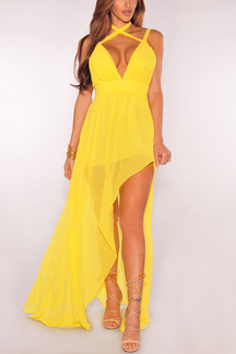 Yellow Plunge Halter Design Slit Details Maxi Dress