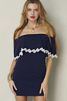 Blue Off-shoulder Layered Body-con Dress With Lace Trim