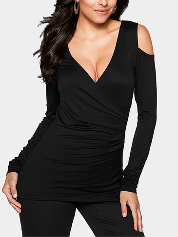 Black Sexy V-neck Cold Shoulder T-shirt