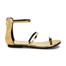 Gold Metallic Strap Across Zip Back Closure Ankle Strap Flat Sandals