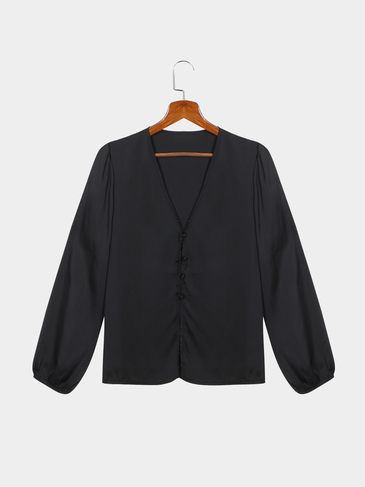 Black Plung V-neck Lantern Long Sleeves Plain Blouse