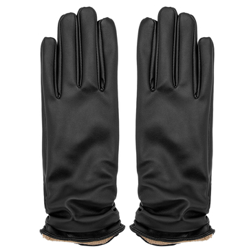 Leather Gloves with Pleated Details