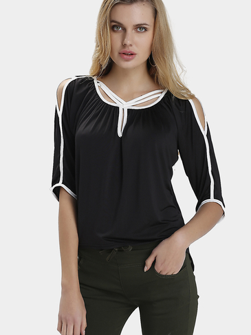 Black Fashion Asymmetric Hollow Sleeves Top