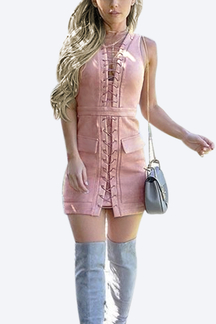 Pink Suede Lace-up Design Mini Party Dress