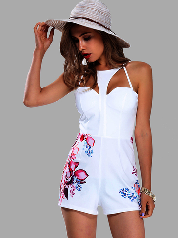 Floral Print Cut Out Spaghetti Strap Playsuit