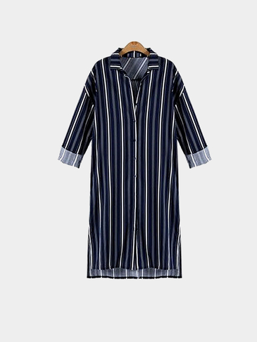 Plus Size Stripped Long Sleeve Shirt Dress