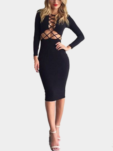 Long Sleeves Criss Cross Midi Dress in Black