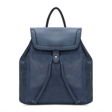 Textured Leather-look Backpack in Navy with Drawstring