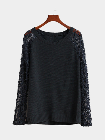 Grey Round Neck Lace Details T-shirt with Hollow Sleeves Design