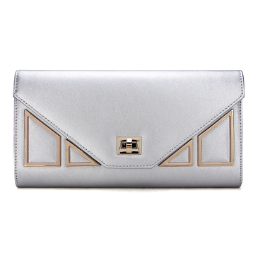 Geo Metal Embellished Leather-look Clutch Bag in Silver with Shoulder Strap