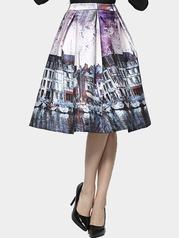 High Wait Tutu Midi Skirt in Printing