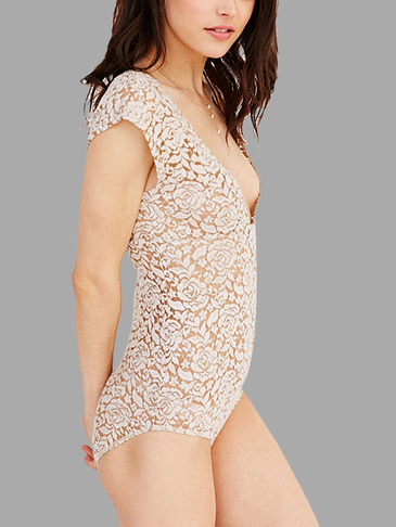 Plunge V-neck Lace Bodysuit