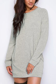 Grey Casual Mini Dress With Raglan Sleeves