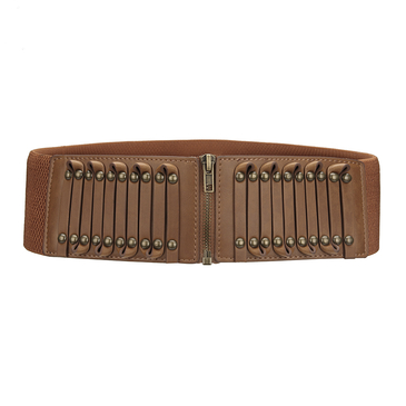 Brown Stretchy Waist Belt With Studs