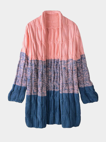Fashion Pink Gradient Oversize Cardigan