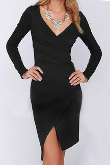 Black Crossed V-neck Long Sleeves Dress
