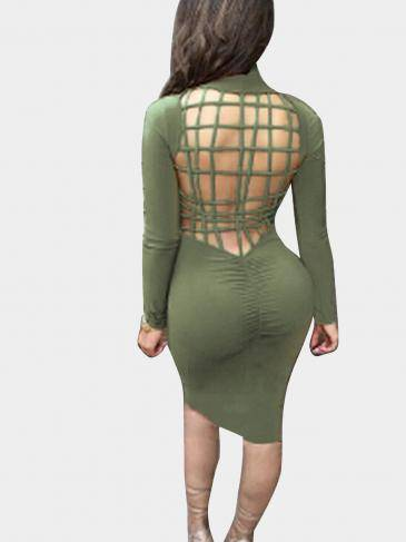 Army Green Hollow Back Midi Dress with Turtle Neck