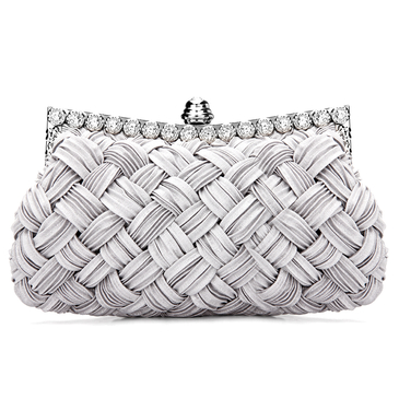 Woven Jewelled Clutch Bag in Grey