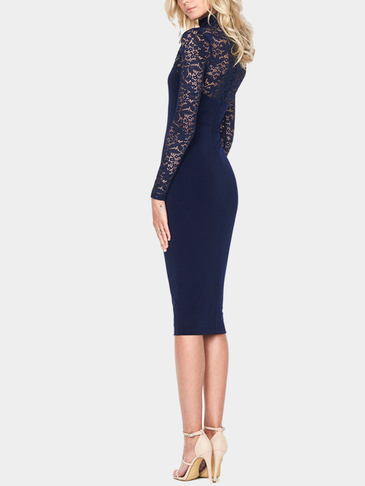 Navy Sexy Long Sleeves Lace Bodycon Midi Dress