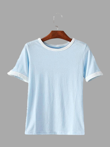Blue Round Neck Simple T-shirt