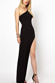 Black Sexy Splited Hem Evening Dress