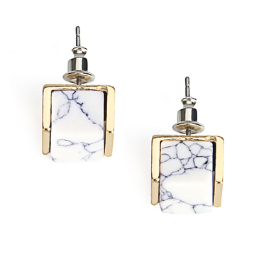 White Turquoise Square Earrings