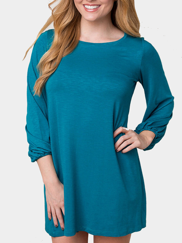 Light Blue Lantern Sleeves Mini Dress