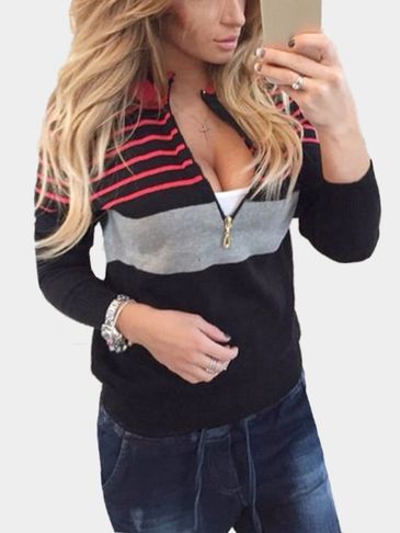 Black Fashion Knit Striped Long Sleeves Zip Up Sweatshirts
