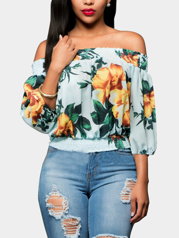 Green Strapless Elastic Long Sleeves Irregular Floral Print Crop Top